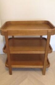 Baby changing table, light wood with 3 shelves