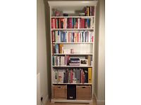 White LIATORP Bookcase with two storage baskets 96x214 (value £195) for quick sale £90