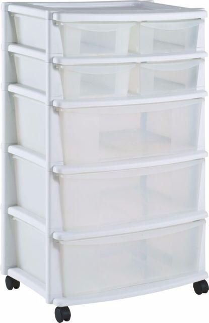 Amazing HOME 7 Drawer Plastic Wide Tower Storage Unit   White