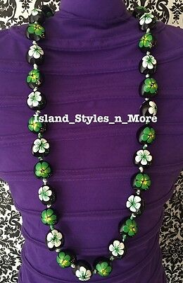 Hawaii Wedding Kukui Nut Lei Graduation Luau Hula Necklace Hibiscus GREEN WHITE