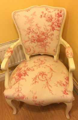 French Original Bedroom Chair (Reupholstered)