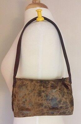 Henry Cuir Beguelin Khaki & Brown Embossed  Bag with Zip Closure & Tassel # 1268