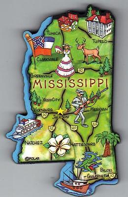 MISSISSIPPI   MS  ARTWOOD STATE MAP MAGNET  JACKSON  NATCHEZ GULFPORT BILOXI