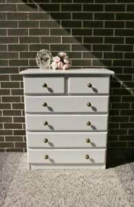 White Farmhouse Tallboy / Chest Of Drawers