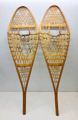 """Antique Vintage 14"""" X 48"""" Snowshoes For Decor or Arts & Craft FREE SHIPPING"""