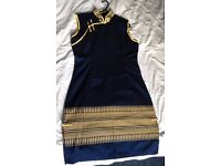 Blue/Yellow/Gold China Style Dress 100% Silk