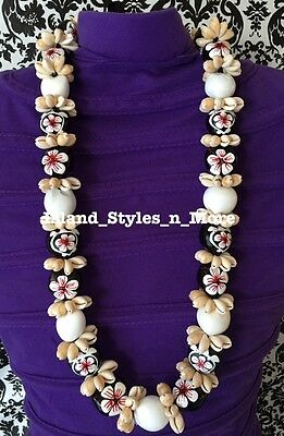 Hawaii Wedding Kukui Nut Lei Cowrie Shell Graduation Necklace Luau Wedding WHITE
