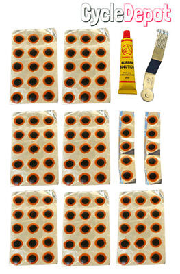 BIKE BICYCLE Repair Tube Patches,Tool, 20ml Rubber cement, 100 patches Repair ()