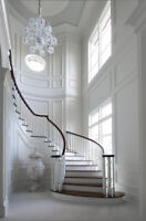 Crown moulding, wainscoting, waffle ceiling
