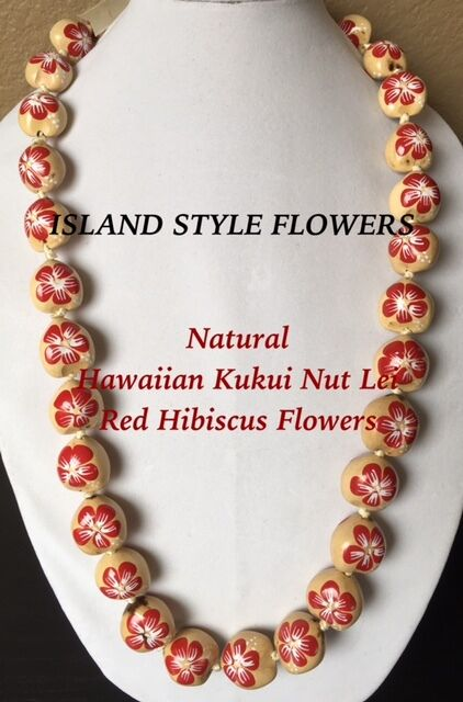 Hawaii Wedding Natural Kukui Nut Lei Graduation Luau Necklace Hibiscus RED