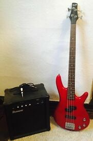 Ibanez Gio Bass Guitar with Amp and leads