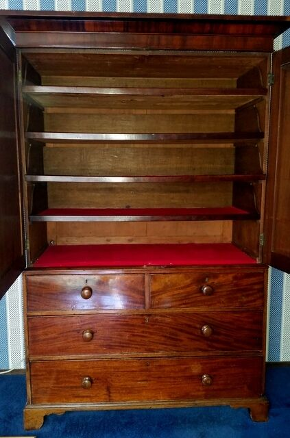Rosewood Linen Press cabinet. European laundry armoire CAN SHIP