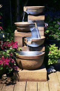 4 Tier Bowl Cascade Water Feature Fountain Natural Rock Stone Effect Garden