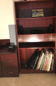 Bookshelves, file cabinet, night table with lamp
