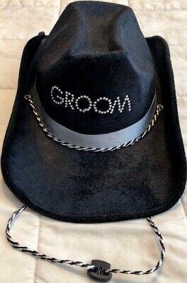 Groom Cowboy Hat Bachelor Black Sequin Studs Adjustable Neck Strap Silver Ribbon