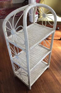 Vintage 1970's White Wicker Shelf Unit
