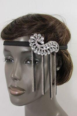 New Women Elastic Band Silver Black Metal Side Head Chain Fashion Jewelry Shell