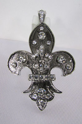 Moda de Mujer Metal Plateado Bufanda Colgante Collar Charm Flor de Lis...