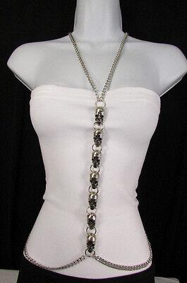 New Women Silver Big Multi Metal Skulls Body Chain Long Necklace Fashion Jewelry