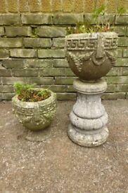 Pair of aged vintage concrete plant pots planters on stands