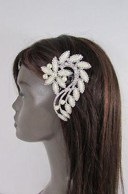Women Silver Metal Head Jewelry Long Leaf Hair Pin Flower Pearl Wedding Bridal