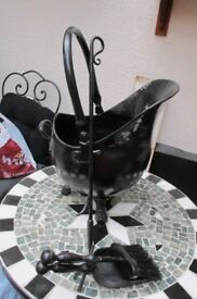 Black Coal Scuttle , Hearth Tidy set and a Hand forged Poker