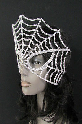 New Women Silver Rhinestones Mardi Gras Carnival Trendy Fashion Big Face Mask