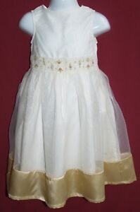 Girls-Designer-TUTU-GORGEOUS-Ivory-Gold-Floral-Party-Bridesmaid-Dress-Age-3