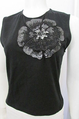 Valentino Women Black Cotton Fashion Tank Top Big Flower Cut Lace Sequins Medium