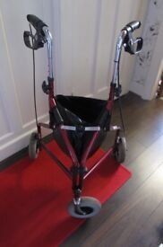 Three Wheeled Walking Frame with carry bag and basket