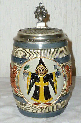 Antique Beer Tankard Munich Kindel Kindl Jug Mugs HB München Barrel mug stein