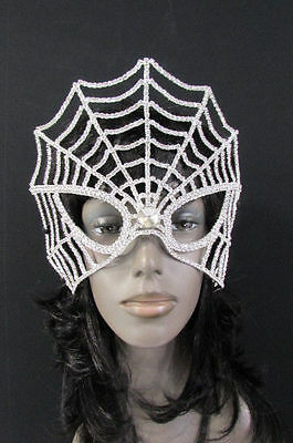 NEW WOMEN SILVER RHINESTONES MARDI GRAS FASHION LARGE SPIDER NET FULL FACE MASK
