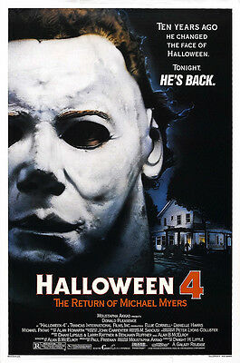 Home Wall Art Print - Vintage Movie Film Poster - HALLOWEEN 4 - - Vintage Halloween Home Movies