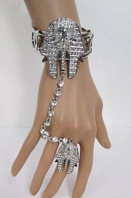 Damen Ägyptischer König Pharao Armband Handkette Mode Sklaven Silberring Krone