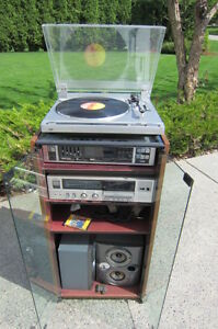 Record/Cassette Stereo System with records and cassettes