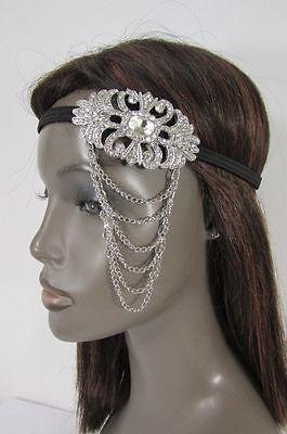 New Women Elastic Band Metal Side Head Chain Fashion Jewelry Silver Rhinestones