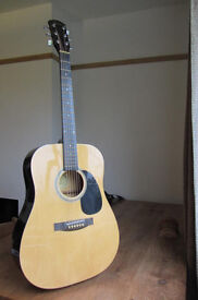 Fender Squier Acoustic Guitar Newly Re-strung, Gig bag, Tuner, Capo, Picks