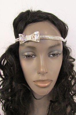 New Women Elastic Band Forehead Fashion Head Chain Jewelry Silver Metal Bow