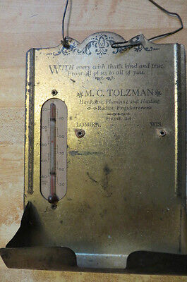 ANTIQUE ADVERTISING THERMOMETER&WOOD MATCH HOLDER,LOMIRA WIS.M.C.TOLZMAN, TIN