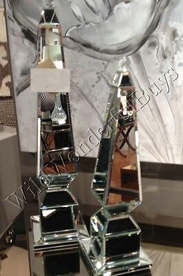 Set 2 Mirrored Obelisk Finials Well-informed in Decor Accent Pair Mirror Tabletop Mantel New