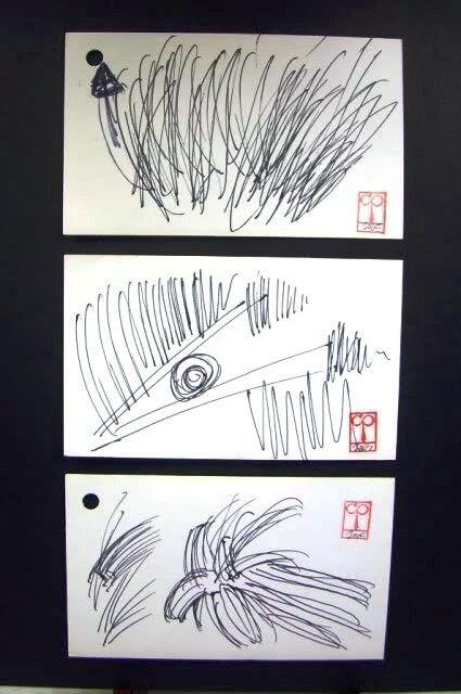 C Peterson 3 ORIGINAL graphic POP ART sketch ACEO drawings CROSS HATCH STUDIES