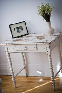 Table console antique blanche Shabby Chic