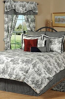 California King Toile Comforter - 4pc Stunning Black/White Classic Toile Luxury Comforter Set Cal King