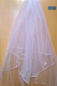 Two tier White wedding veil with comb