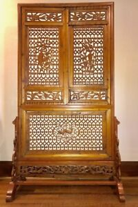 Spectacular Chinese carved wooden screen / room divider