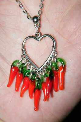 (HEART NECKLACE RED GLASS CHILI PEPPERS FILIGREE SILVER PLATED 21