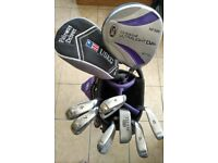 "U.S. Kids ( Junior ) Golf Clubs Stand Bag Set/ Carry Harness + 4 EXTRA clubs + BOX - Purple 54"" Size"