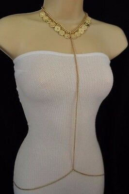 New Women Necklace Fashion Gold Body Chains Long Jewelry Coin Charm Beach V Neck