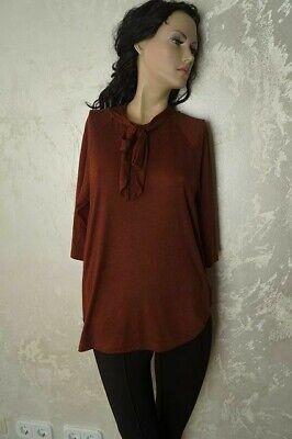 Geschlossene Arm (Yaya Damen Shirt 3/4 Arm Rostrot hochgeschlossen Schleife Gr.M UVP 49,95 NEU)