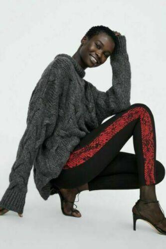 Zara Basic Side Stripe Snake Print High Waist Leggings Black Red Women